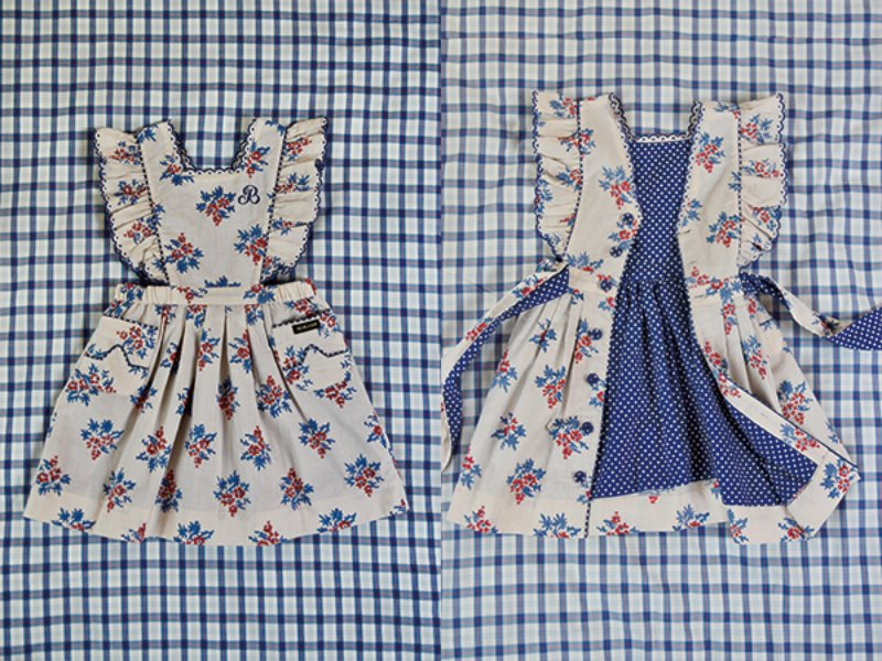 [Bonjour]Apron Dress with festoon embroidery-flash blue dot lining