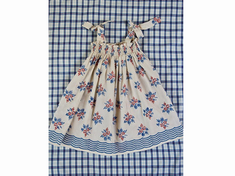 [Bonjour]Long Skirt /Dress with wave border at botto-Red blue flower print