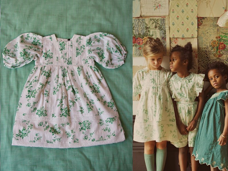 [Bonjour]Memory dress-Green flower print cotton/viscose