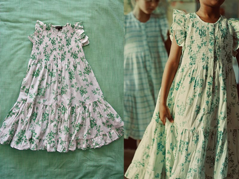 [Bonjour]Ibiza dress-Green flower with check fabric flounces print cotton/viscose