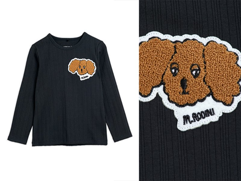 [mini rodini]Fluffy dog patch ls tee-Black